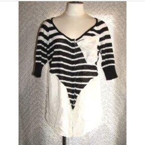 Free People Sz Medium Black & White Striped Shirt